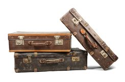 Old suitcases. Isolated on white background Royalty Free Stock Photos
