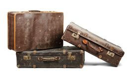 Old suitcases. Isolated on white background Royalty Free Stock Images