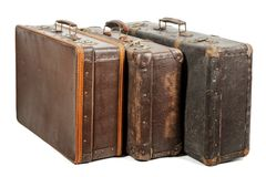 Old suitcases. Isolated on white background Stock Images