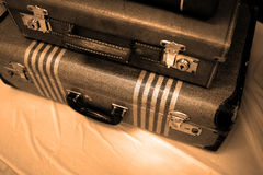 Old Suitcases for Journey or Trip. Detail of old suitcases symbolizing journey or embarking on a trip adventure Stock Photo