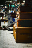 Old suitcases. In Junk shop at Monastiraki, Athens - Greece Royalty Free Stock Image