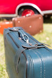 Old suitcases near the car Stock Photography