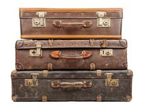 Old suitcases. Isolated on white background Royalty Free Stock Image