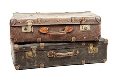 Old suitcases. Isolated on white background Stock Image