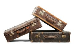 Old suitcases. Isolated on white background Stock Photos