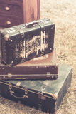 Old suitcases pile retro style. Vintage toned shot Royalty Free Stock Image
