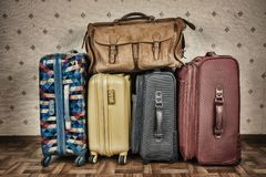 Old suitcases. A stack of old suitcases Stock Image
