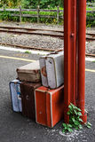 Old suitcases on train station Royalty Free Stock Photography