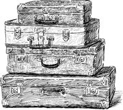 Old suitcases. Vector sketch of the vintage suitcases Royalty Free Stock Images