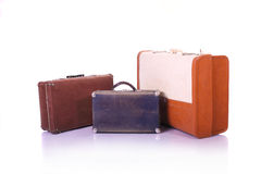 Old suitcases on white background Royalty Free Stock Photo
