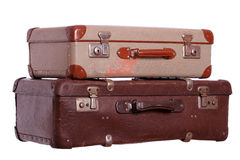 Old suitcases. On white background Royalty Free Stock Images