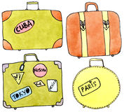 Old suitkases - watercolor on white. Watercolor set of vintage suitcases with stickers with cities on white background Royalty Free Stock Image