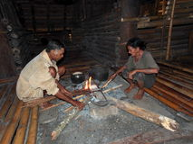 Old Sumbanese People Making Fire Royalty Free Stock Photos