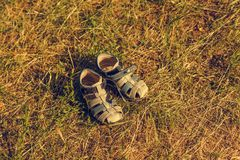 Summer children shoes standing on a summer grass Royalty Free Stock Image