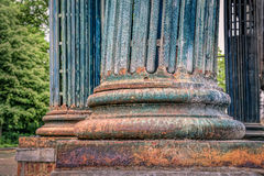 Old Summerhouse, Brussels, Belgium. The remains of a column of the old wooden summer house in Brussels Stock Photos