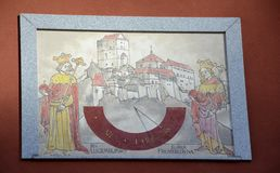 Old sun dial on wall. From Czech republic Stock Photography