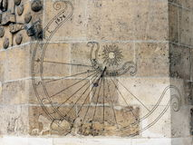 Old sundial. On the wall (photo taken in Paris, France stock photography