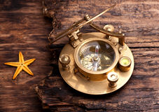 Old sundial with compass Royalty Free Stock Images