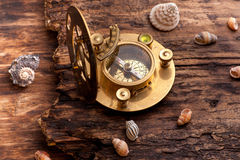 Old sundial with compass Royalty Free Stock Photos