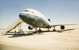 Old, superannuated aircraft in desert Royalty Free Stock Photography