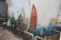 Old surfboards Royalty Free Stock Photos