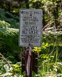 Old Survey Marker Sign. In sunny green forest stock photography
