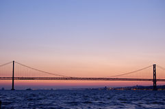 Old suspension bridge, lisbon Royalty Free Stock Image