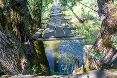 Old suspension bridge over the river. Protva stock image