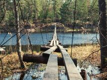 Free Old Suspension Bridge Over The Lake Stock Photo - 189499350