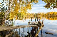 Old Swedish bridge in autumn scenery Stock Photos