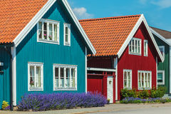 Old swedish houses in front of a blue sky Stock Image
