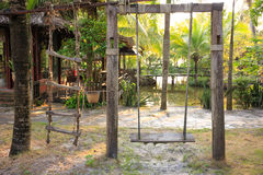 Old swing abandoned swing. Stock Photos