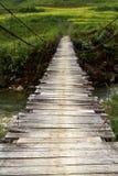 Swing Bridge. Old Swing Bridge in Vietnam royalty free stock images