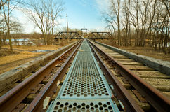 Old Swinging Train Bridge Royalty Free Stock Photography