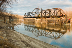 Old Swinging Train Bridge Royalty Free Stock Photos