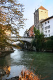 Old swiss city Brugg. Old city Brugg, view to the balck tower and old bridge royalty free stock photos