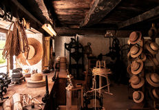 Old Swiss Hat shop display in Ballenberg Open air Museum, Brienz Royalty Free Stock Photos