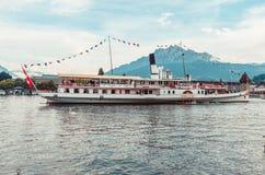 Old Swiss Paddle steam stramer on lake Lucerne switzerland. 2019 royalty free stock photos