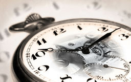 Old swiss pocket watch montage with transparent clock face