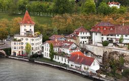 Old Swiss town on Aare river. Bern. Old Swiss town on Aare river. Coastal landscape of Bern, Switzerland royalty free stock image