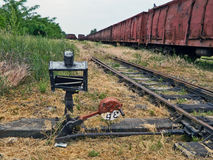 Old switch on the railway Stock Images