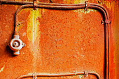 Old switch on a rusty iron wall Royalty Free Stock Photo