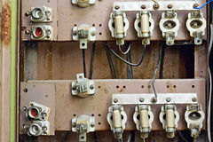 Old switchboard with fuses Stock Images
