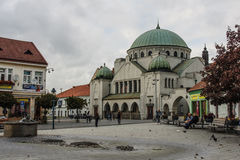 The old synagogue in Trencin stock photo