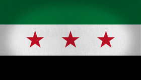 Old Syria flag. Older version of the syria flag with three red stars in the central white line, with other one in green and other black at the bottom, fabric Royalty Free Stock Photography