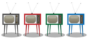 Old T.V. Icons. Set of Old Retro Television Icons in vector format Stock Photo