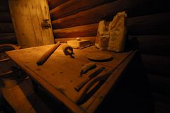 Old table. The sample of old table with on the cooking equipment Royalty Free Stock Photos