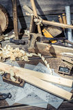 Old table carpenter in a workshop Royalty Free Stock Image