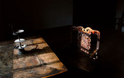 Old table in Chinese room Royalty Free Stock Photo