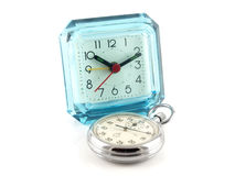 Old table clock and stop-watch Stock Images